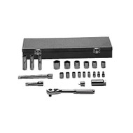 "ALLEN - 23 Pc 1/4 & 3/8 Dr. Full Polish 6PT: 3/16""-1/2"",  12PT: 9/16""-7/8"". 12PT Deep: 7/16""-9/16"", 2 Ext, QR Ratchet - 19111A,  USA Mfg"