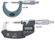 """Mitutoyo -3 - 4"""" / 76 mm - 101 mm Digimatic Point Micrometers 30 Deg SPC IP65  342-364 **Free Shipping**"""