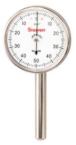 """Starrett - Back Plunger Dial Indicator .200"""" Range 0-50-0 Dial Face .001"""" Grad 196B5 50717"""
