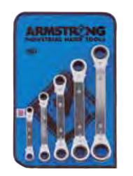 "Armstrong - 5 PC 12 Pt SAE Ratcheting Box End Wrench Set 1/4"" - 7/8"" (R/B 27-608G) w Vinyl Roll 27-608"