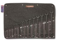 "Wright Tool - 14 Pc   WRIGHTGRIP® Combination Wrench Set 12 Pt Black Finish 3/8"" - 1-1/4"" w Denim Roll USA Mfg"