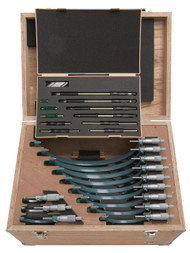 "Mitutoyo - 0-12"" Outside Micrometer Set .001 RA W/STD Hammertone Baked Enamel 103-905-10"