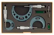 "Mitutoyo - 0 - 3"" Outside Micrometer Set .0001 RA W/ST Hammertone Baked Enamel 103-929"
