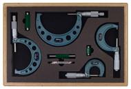 "Mitutoyo - 0 - 4""  Outside Micrometer Set 4 Pc .0001 RA W/ST Hammertone Baked Enamel 103-931"