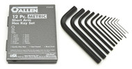 Allen- 12-Key Metric Short Arm Hex Key Set - Metal Box USA Mfg 56038