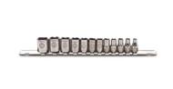 "Armstrong -  12 Pc 1/4"" Dr. Metric 6 Pt Socket Set  4 -14 mm Bar & Clip 44-215  USA Mfg"