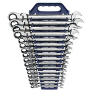 GearWrench - 16 Pc. 12 Point Metric Flex Combination Ratcheting Wrench Set Set 8mm - 25mm