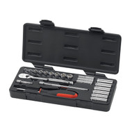 "GearWrench - 22 Pc. 1/4"" Dr 6 and 12 Point Metric Standard and Deep Mechanics Tool Set 6mm - 12mm"