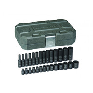 "GearWrench - 28 Pc. 1/4"" Drive 6 Point Metric Standard & Deep Impact Socket Set 4mm - 15mm"