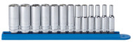 """GearWrench - 13 Pc. 1/4"""" Drive 6 Point Metric Mid Length Socket Set 4mm -15mm"""