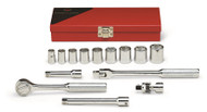 "Wright Tool - 3/8"" Dr 13 Piece Metal Boxed Set - 6 Point Std Sockets, 3/8"" - 7/8"", Ratchet, Flex Handle, 6"" Ext's, Universal USA Mfg"