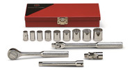 "Wright Tool - 3/8"" Dr 13 Piece Metal Boxed Set - 12 Point Std Sockets, 3/8"" - 7/8"", Ratchet, Flex Handle, 6"" Ext's, Universal USA Mfg"