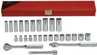 "Wright Tool - 3/8"" Dr 27 Piece Metal Boxed Set - 6 Point Std & 12 Pt Deep Metric Sockets, 6mm - 19mm, Ratchet, Flex Handle, 6"" Ext USA Mfg"