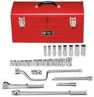 "Wright Tool - 1/2"" Dr 27 Piece Metal Boxed Set 12 Point Std Sockets  7/16"" - 1-1/4"" & Deep Sockets 1/2"" - 15/16"", Ratchet, Flex Handle, Speeder, 5"", 10"" Exts, Universal USA Mfg"