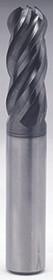 V7 Plus - 0.406 - 13/32 d x 7/16 Shk x 1/2 loc x 2-3/4 oal 4Fl Variable Helix Ballnose Carb EM w Plain Shk - UGMG53026 USA Mfg.