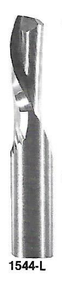 """1544L - 1/4"""" Solid Carbide Router Single Flute, LH Spiral Down Cut & End Cutting USA Mfg"""