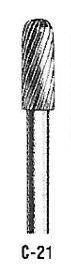 "Atrax Carbide Burr - C-21 Cylindrical Radius End Burr Diamond Cut 1/8"" shk x 3/16"" Head x 1-1/2"" oal USA Mfg"