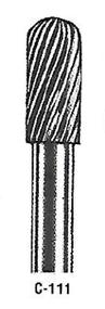 "Atrax Carbide Burr - C-111 Cylindrical Radius End Fine Cut Burr 1/4"" shk x 5/16"" Head x 2-3/4"" oal USA Mfg"