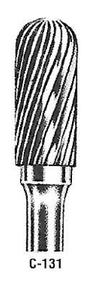"Atrax Carbide Burr - C-131 Cylindrical Radius End Burr 1/4"" shk x 7/16"" Head x 3"" oal USA Mfg"