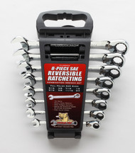 "CougarPro - 8 Pc Full Polish Reversible-Ratcheting Combination Wrench Set 72th w 5 Deg Arc Swing  SAE 5/16"" to 3/4""- E8SRCW"