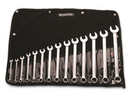 "Wright Tool - 14 Pc   WRIGHTGRIP® Combination Wrench Set 12 Pt Satin Finish 3/8"" - 1-1/4"" w Denim Roll USA Mfg"