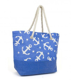 Sailor print straw tote in royal