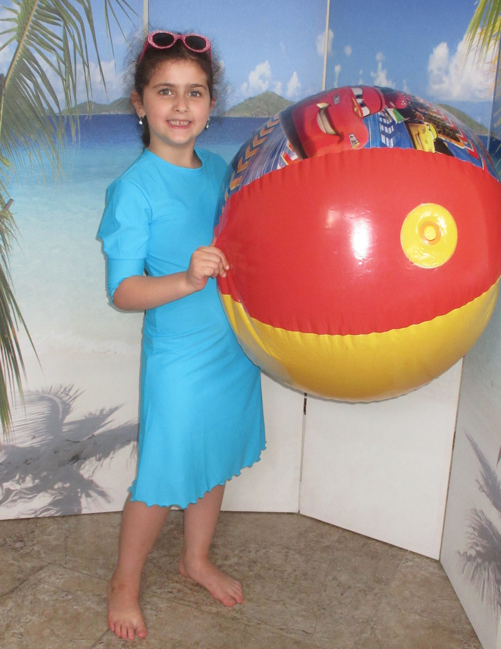 8be43eb22b4d8 ... Style 2600c - Girls modest Swim Dress / Cover Up. banner. Image 1