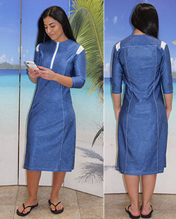 Style 2632 swim dress in denim swimwear fabric designed with contrast white top stitching and white shoulder panels.