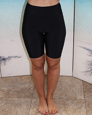 Style 2618S knee length short in solid Black swimwear fabric