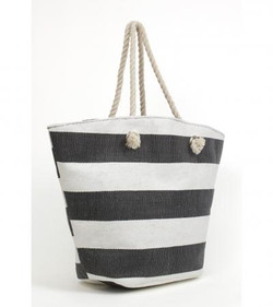 Nautical straw beach tote in navy and white stripes