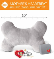 "K&H Pet Mother's Heartbeat Plush Dog Bone Pillow Medium Gray 10"" x 6"" x 3"""
