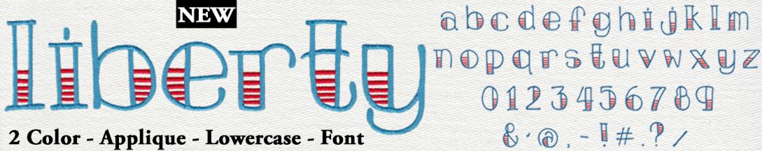 761 Liberty 2 Color Applique Font