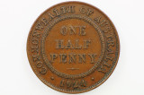 1924 Half Penny George V Low Mint in Very Fine Condition