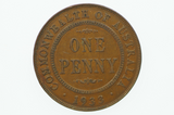 1933/32 Penny Over Date in Almost EF Condition Reverse