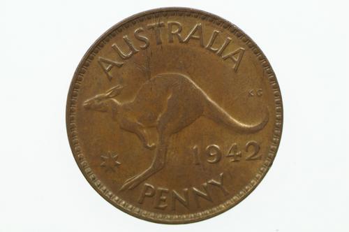 1942 Y. Penny George VI in Uncirculated Condition Reverse
