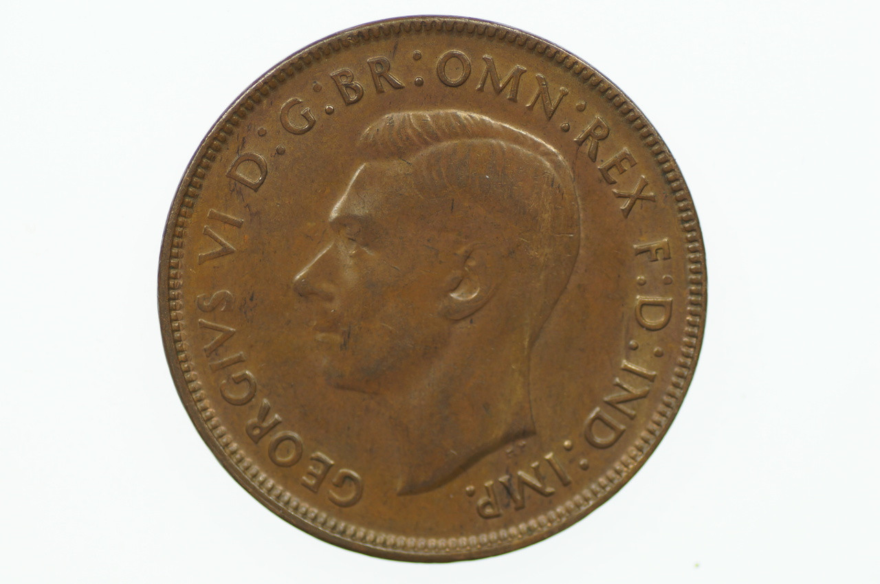 1942 Y. Penny George VI in Uncirculated Condition Obverse