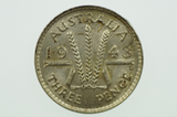 1943 D Threepence George VI in Uncirculated Condition