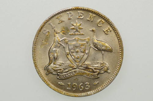 1963 Sixpence Elizabeth II in Uncirculated Condition Reverse