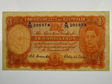 1952 Ten Shillings Coombs/Wilson First Prefix A/75 Banknote