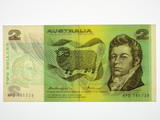 1976 Two Dollars Knight / Wheeler Gothic Centre Thread Banknote