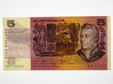 1976 Five Dollars Knight / Wheeler Gothic Side Thread Banknote