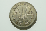 Australian 1944 S Threepence Variety Error Mis-Strike in Almost Extremely Fine Condition