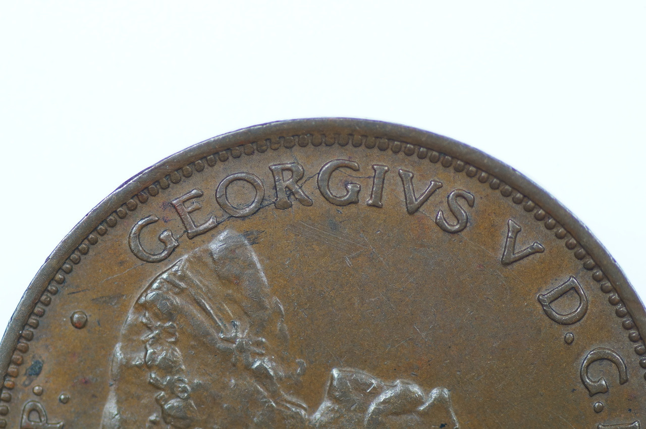 1927 Half Penny George V in Almost Uncirculated Condition Obverse Close Up