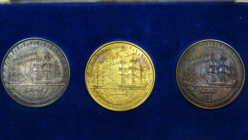 Captain James Cook's 2nd Voyage Gold, Silver and Bronze Medal Set Reverse