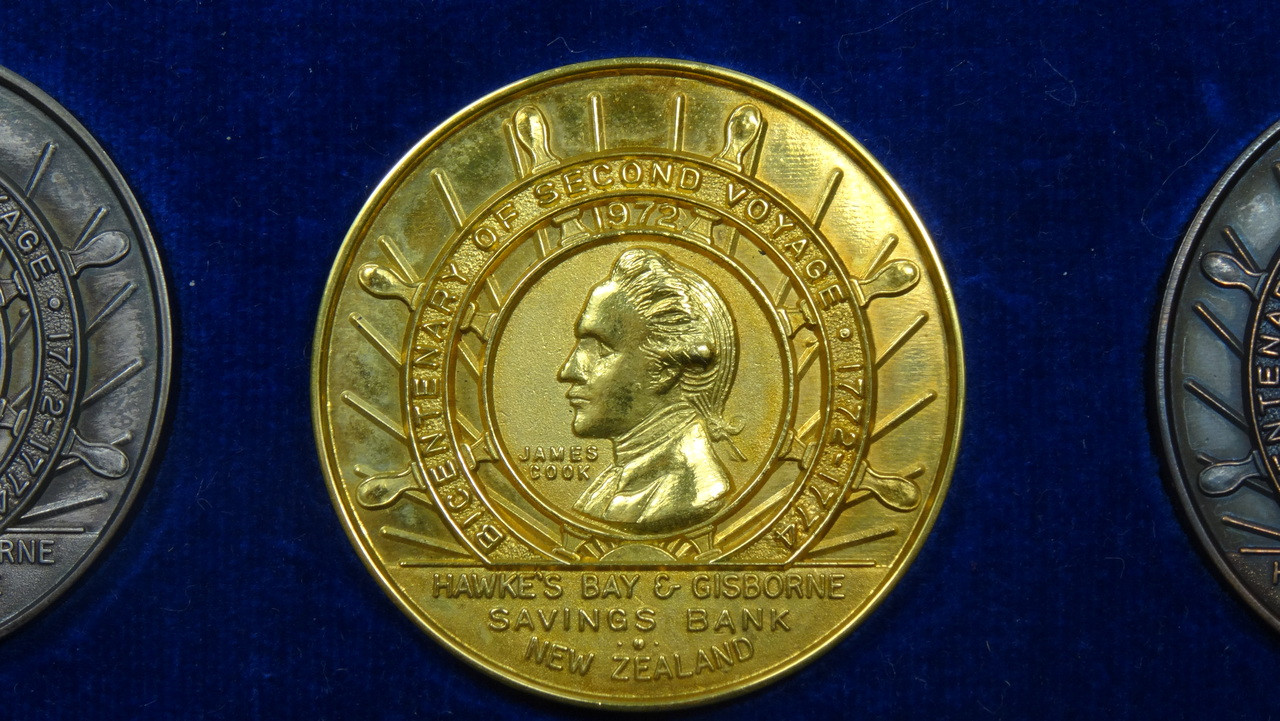 Captain James Cook's 2nd Voyage Gold Medal Obverse