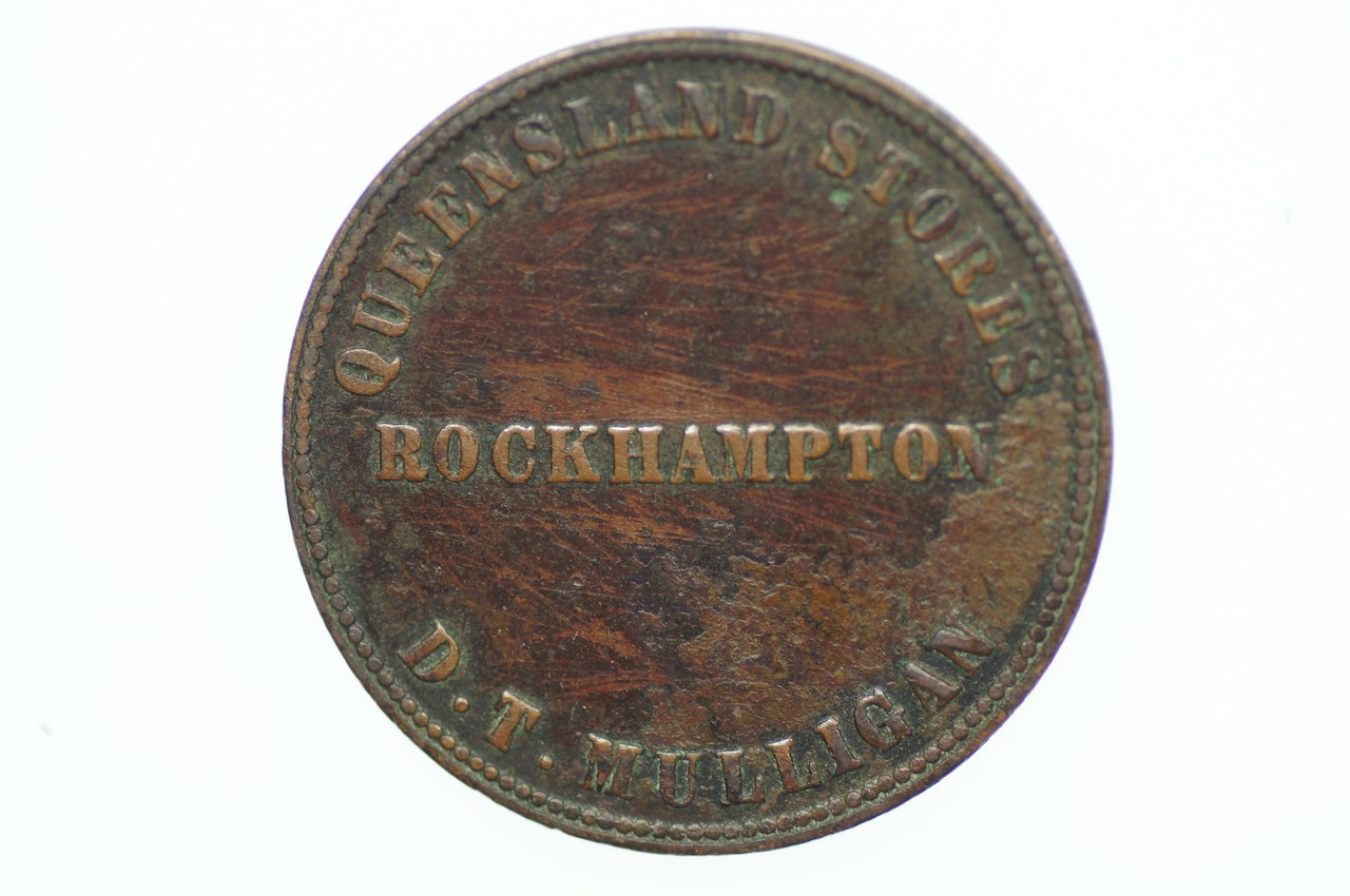 Mulligan, DT Penny Token in Very Fine Condition Obverse