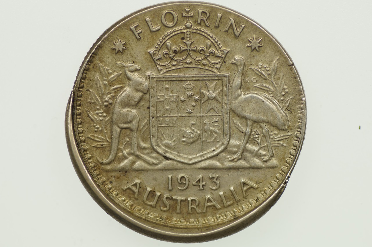 1943 Florin Variety Error Mis-Strike in Almost EF Condition Reverse