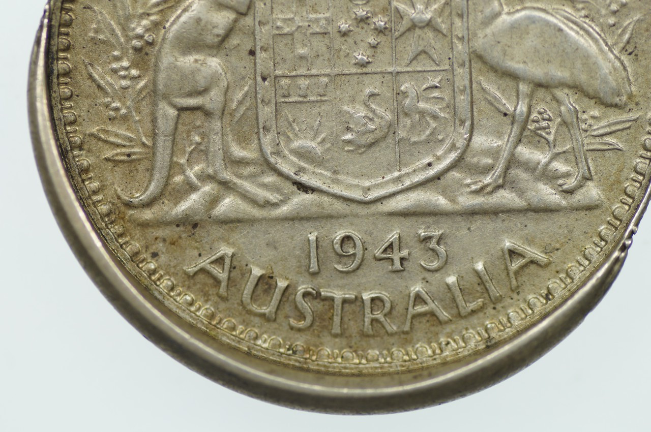 1943 Florin Variety Error Mis-Strike in Almost EF Condition Reverse Close Up