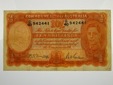 1942 Ten Shillings Armitage/McFarlane Banknote in Very Good Condition