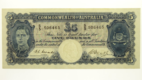 1949 Five Pounds Coombs / Watt Banknote in EF Condition Reverse
